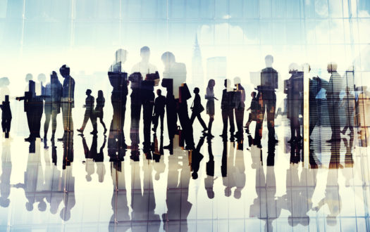 Silhouettes of Business People Working in an Office