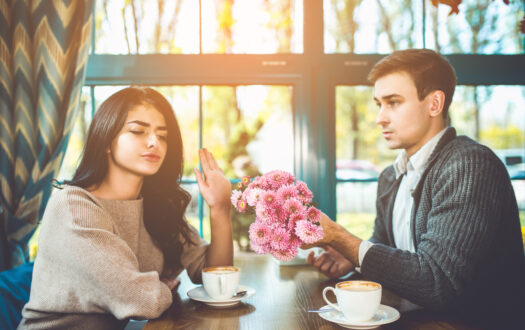 The woman reject a flowers from her man