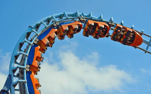 Roller coaster looping upside down