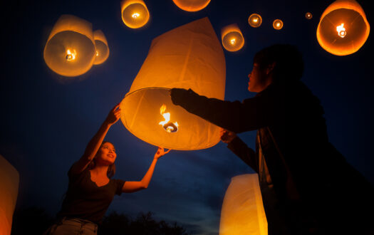 Asian sweet love enjoy yeepeng festival in Chiang mai,Thailand