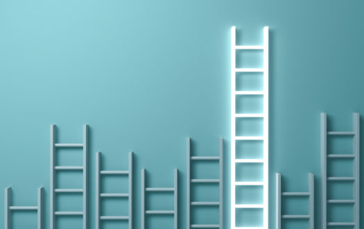 Stand out from the crowd and different creative idea concepts , Longest ladder glowing among other short ladders on light green background with shadows . 3D rendering.
